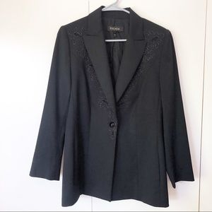 Escada Womens Blazer Size 42 1 Button Black Beaded
